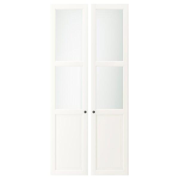 LIATORP Pannello/anta a vetro, bianco, 44x198 cm
