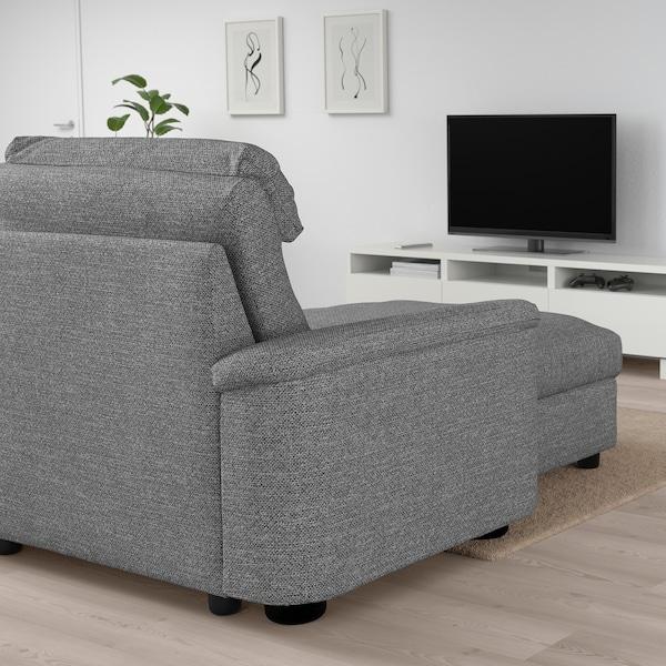 LIDHULT Divano a 4 posti, con chaise-longue/Lejde grigio/nero