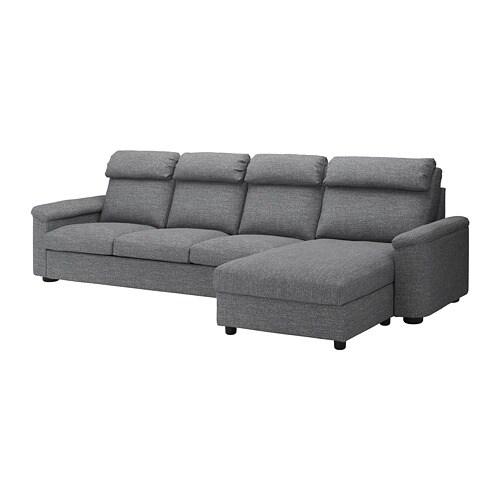 LIDHULT Divano a 4 posti - con chaise-longue/Lejde grigio/nero - IKEA