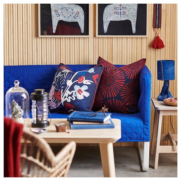 MÅLARBORSTE Fodera per cuscino, blu scuro/fantasia, 50x50 cm