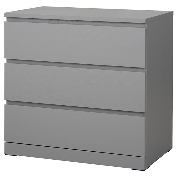 Cassettiera Ikea 3 Cassetti.Malm Cassettiera Con 3 Cassetti Grigio Trattato Con Mordente