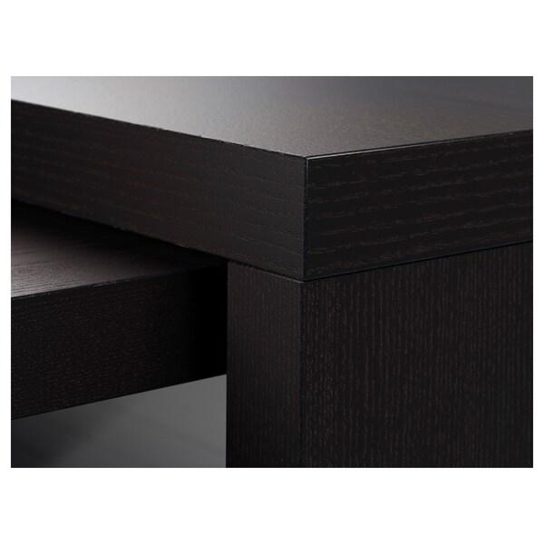 MALM Scrivania con piano estraibile, marrone-nero, 151x65 cm