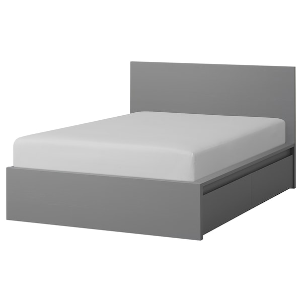 MALM Struttura letto alta/2 contenitori, mordente grigio/Leirsund, 160x200 cm