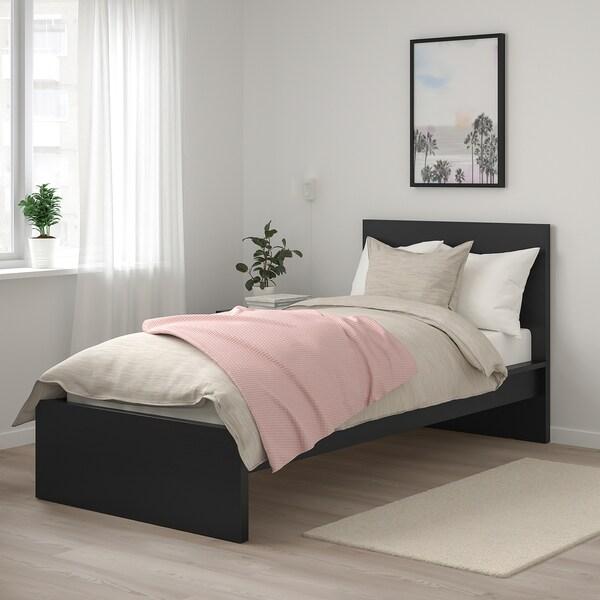 MALM Struttura letto alta, marrone-nero/Luröy, 90x200 cm