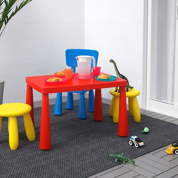 MAMMUT Tavolo per bambini, da interno/esterno rosso, 77x55 cm