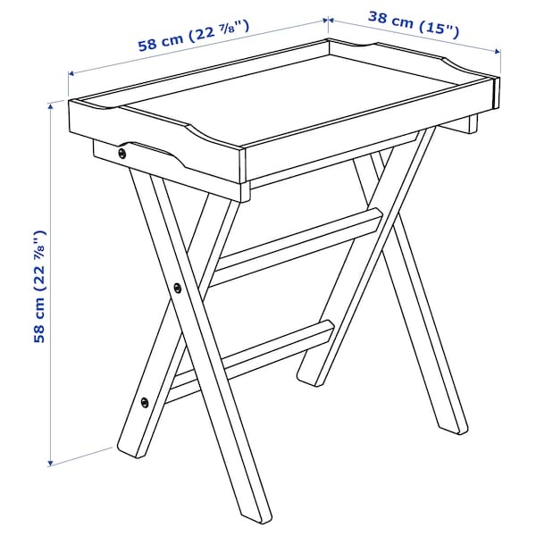 MARYD Tavolino vassoio, rosso scuro, 58x38x58 cm