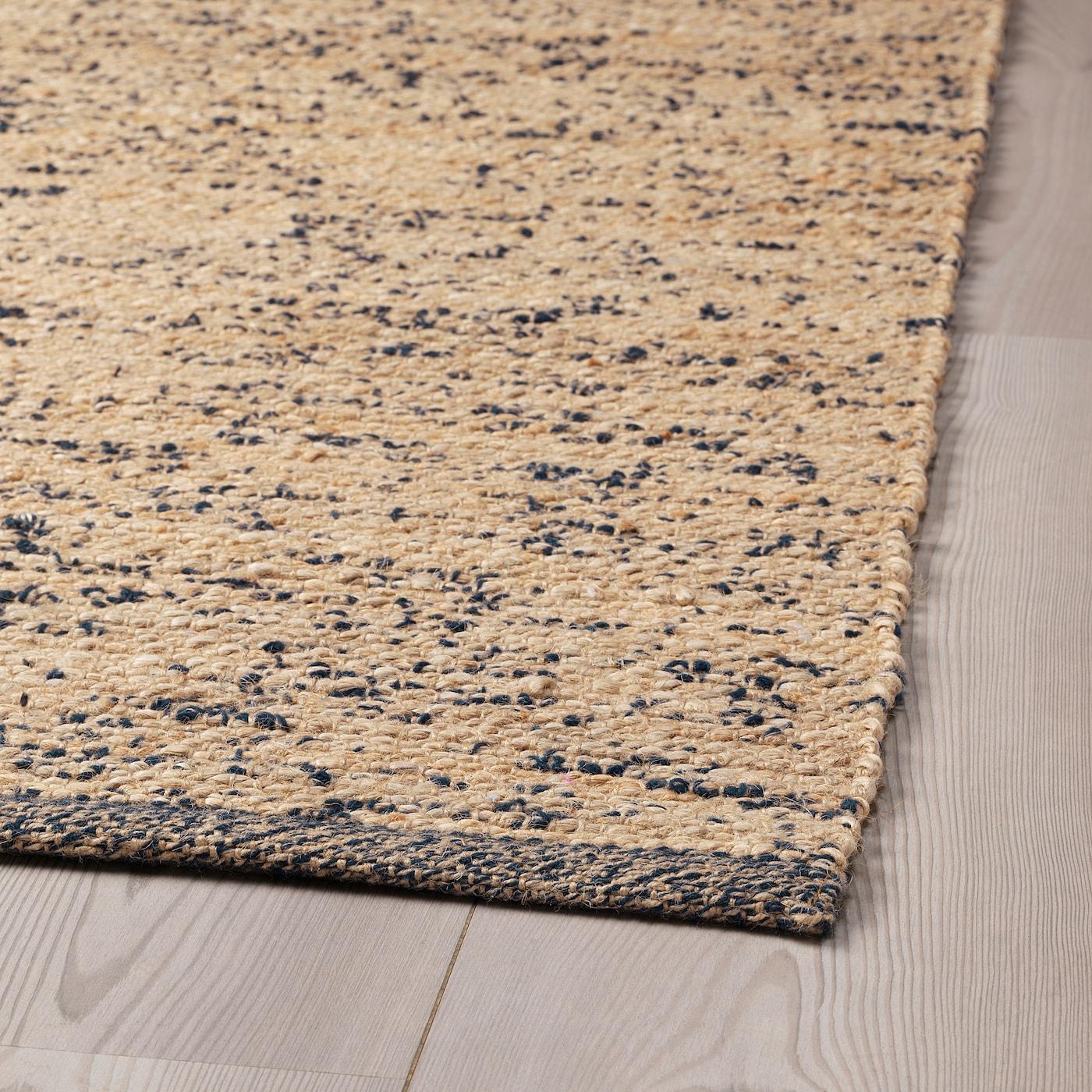 Lavare Tappeto Lana Ikea melholt tappeto, tessitura piatta - fatto a mano naturale, blu scuro  133x195 cm