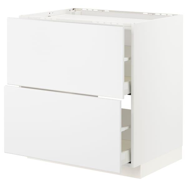 METOD / MAXIMERA mobile p cottura/2frontali/2casset bianco/Kungsbacka bianco opaco 80.0 cm 61.6 cm 88.0 cm 60.0 cm 80.0 cm