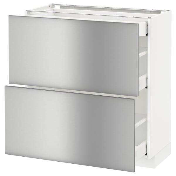 METOD / MAXIMERA mobile base/2frontali/3cassetti bianco/Grevsta inox 80.0 cm 39.4 cm 88.0 cm 37.0 cm 80.0 cm