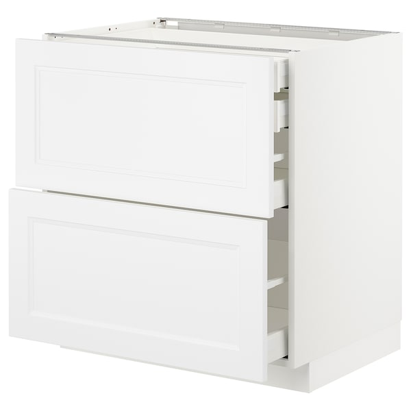 METOD / MAXIMERA Mob 2front/2casset bass/1med/1alt, bianco/Axstad bianco opaco, 80x60 cm