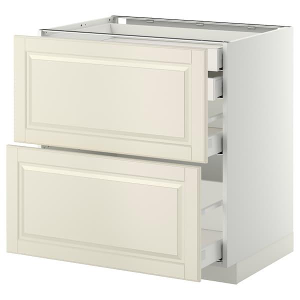 METOD / MAXIMERA Mob 2front/2casset bass/1med/1alt, bianco/Bodbyn bianco sporco, 80x60 cm