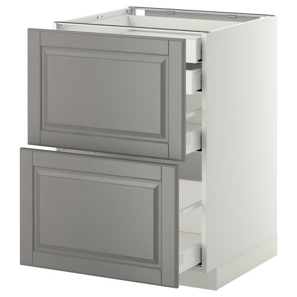 METOD / MAXIMERA Mob 2front/2casset bass/1med/1alt, bianco/Bodbyn grigio, 60x60 cm