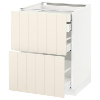 METOD / MAXIMERA Mob 2front/2casset bass/1med/1alt, bianco/Hittarp bianco sporco, 60x60 cm
