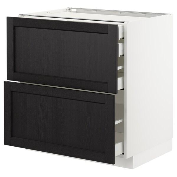 METOD / MAXIMERA Mob 2front/2casset bass/1med/1alt, bianco/Lerhyttan mordente nero, 80x60 cm