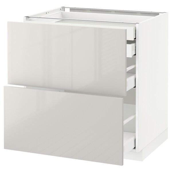 METOD / MAXIMERA Mob 2front/2casset bass/1med/1alt, bianco/Ringhult grigio chiaro, 80x60 cm