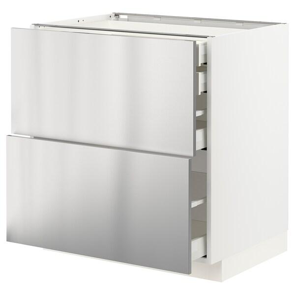 METOD / MAXIMERA Mob 2front/2casset bass/1med/1alt, bianco/Vårsta inox, 80x60 cm