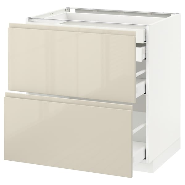 METOD / MAXIMERA Mob 2front/2casset bass/1med/1alt, bianco/Voxtorp beige chiaro lucido, 80x60 cm