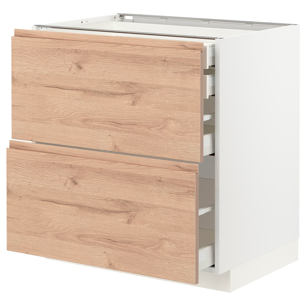 METOD / MAXIMERA Mob 2front/2casset bass/1med/1alt, bianco/Voxtorp effetto rovere, 80x60 cm