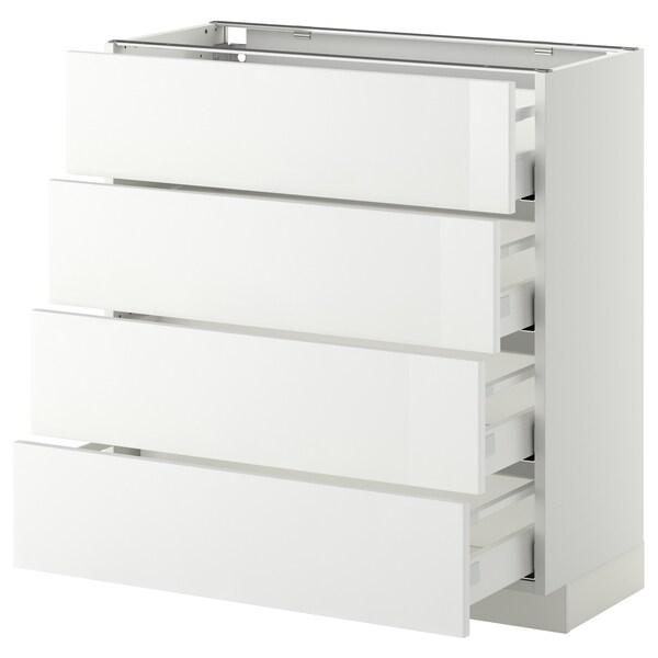 METOD / MAXIMERA Mobile/4 frontali/4 cassetti, bianco/Ringhult bianco, 80x37 cm