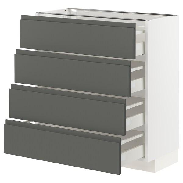 METOD / MAXIMERA Mobile/4 frontali/4 cassetti, bianco/Voxtorp grigio scuro, 80x37 cm