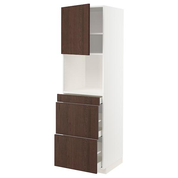 METOD / MAXIMERA Mobile alt micro com/anta/3cassetti, bianco/Sinarp marrone, 60x60x200 cm