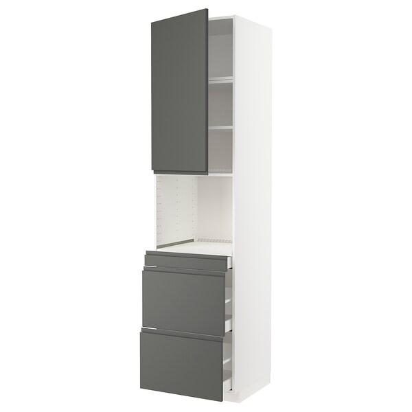 METOD / MAXIMERA Mobile alt micro com/anta/3cassetti, bianco/Voxtorp grigio scuro, 60x60x240 cm