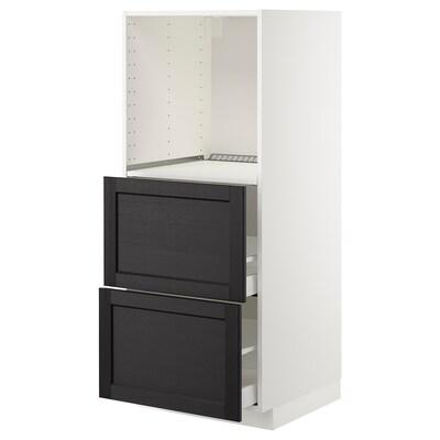 METOD / MAXIMERA Mobile alto/2 cassetti per forno, bianco/Lerhyttan mordente nero, 60x60x140 cm