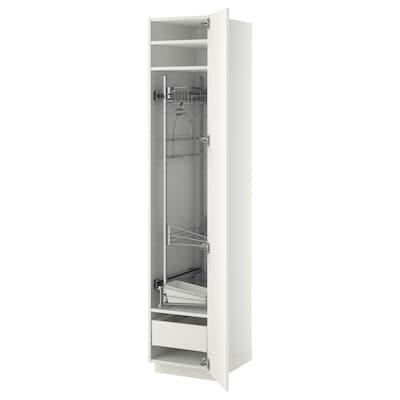 METOD / MAXIMERA Mobile alto con accessori pulizia, bianco/Veddinge bianco, 40x60x200 cm