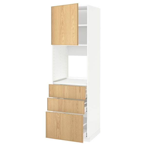 METOD / MAXIMERA Mobile alto forno/anta/3 cassetti, bianco/Ekestad rovere, 60x60x200 cm