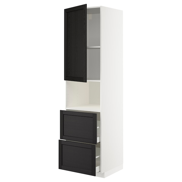 METOD / MAXIMERA Mobile alto micro/anta/2cassetti, bianco/Lerhyttan mordente nero, 60x60x220 cm