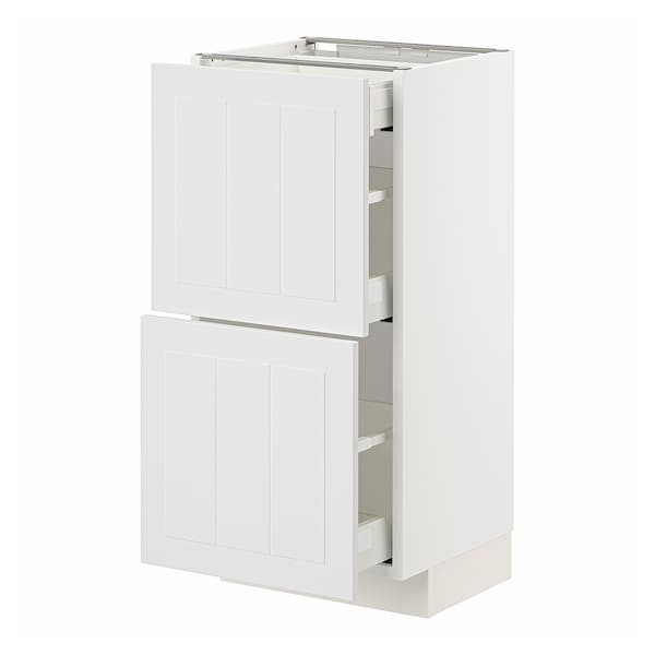 METOD / MAXIMERA Mobile base/2 frontali/3 cassetti, bianco/Stensund bianco, 40x37 cm