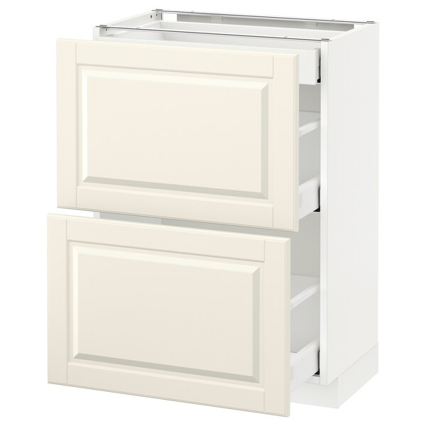 METOD / MAXIMERA Mobile base/2frontali/3cassetti, bianco/Bodbyn bianco sporco, 60x37 cm