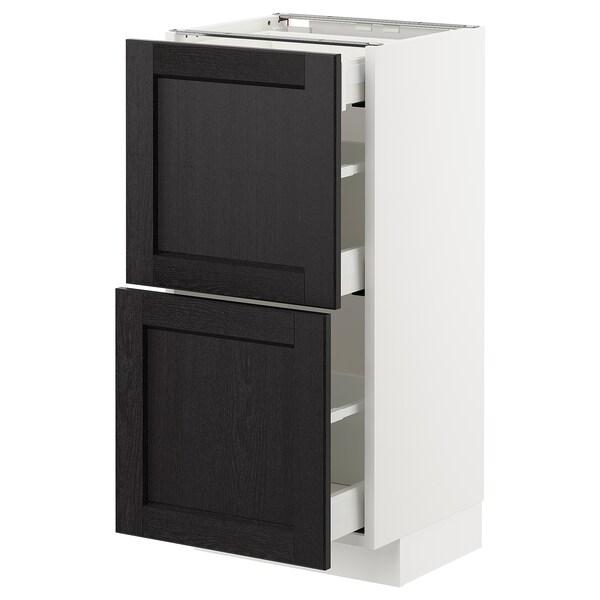 METOD / MAXIMERA Mobile base/2frontali/3cassetti, bianco/Lerhyttan mordente nero, 40x37 cm