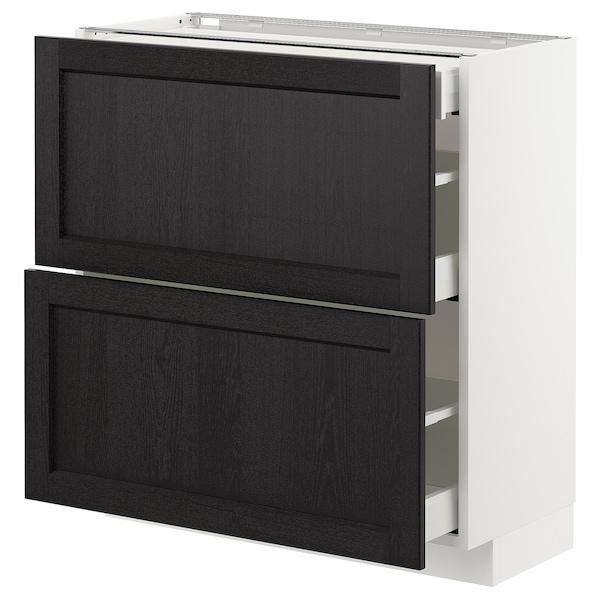 METOD / MAXIMERA Mobile base/2frontali/3cassetti, bianco/Lerhyttan mordente nero, 80x37 cm