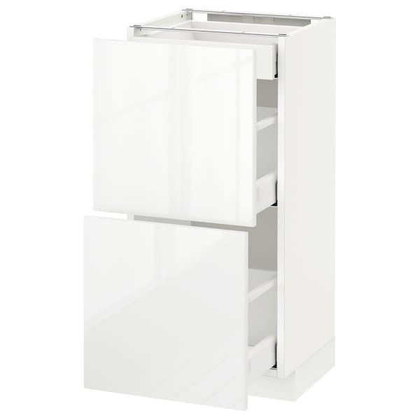 METOD / MAXIMERA Mobile base/2frontali/3cassetti, bianco/Ringhult bianco, 40x37 cm
