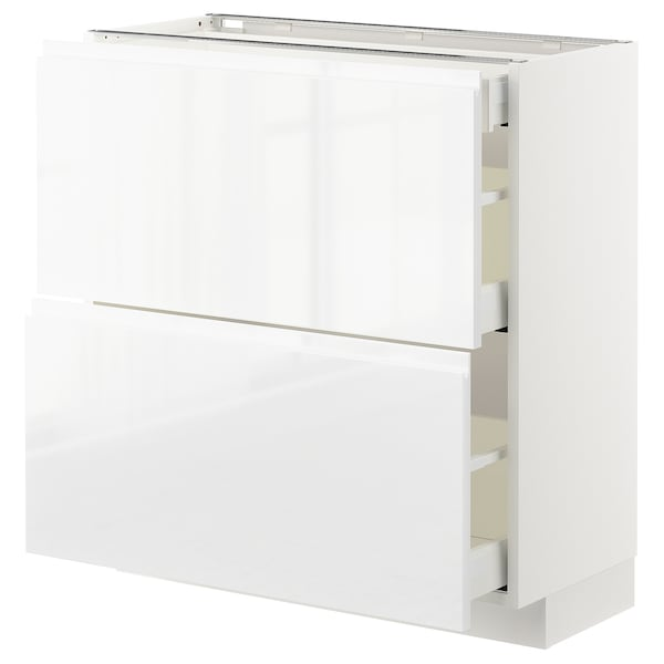 METOD / MAXIMERA Mobile base/2frontali/3cassetti, bianco/Voxtorp lucido/bianco, 80x37 cm