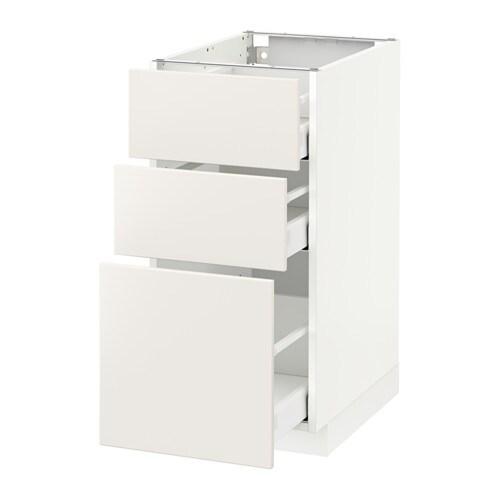 METOD / MAXIMERA Mobile base con 3 cassetti - Ringhult lucido bianco ...