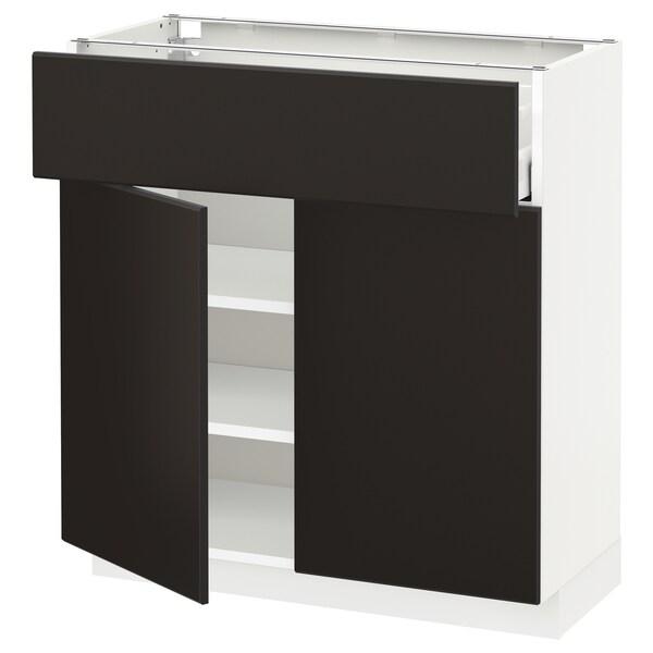 METOD / MAXIMERA Mobile con cassetto/2 ante, bianco/Kungsbacka antracite, 80x37 cm