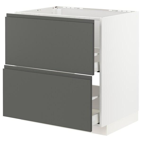 METOD / MAXIMERA Mobile lavello/2frontali/2cassetti, bianco/Voxtorp grigio scuro, 80x60 cm