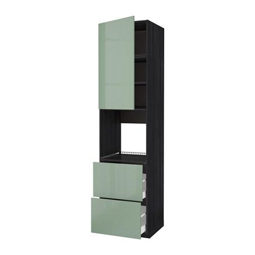 Metod maximera mobile per forno anta 2 cassetti effetto legno nero kallarp lucido verde - Mobile da incasso forno ikea ...