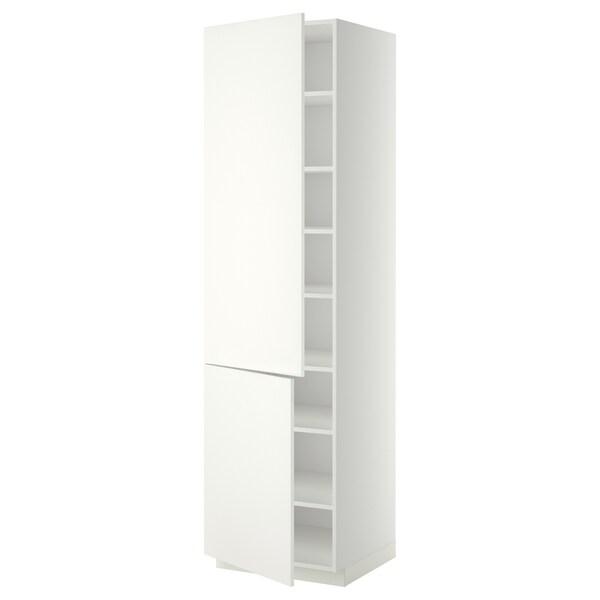 METOD Mobile alto con ripiani/2 ante, bianco/Häggeby bianco, 60x60x220 cm