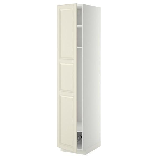 METOD Mobile alto con ripiani/cestello, bianco/Bodbyn bianco sporco, 40x60x200 cm