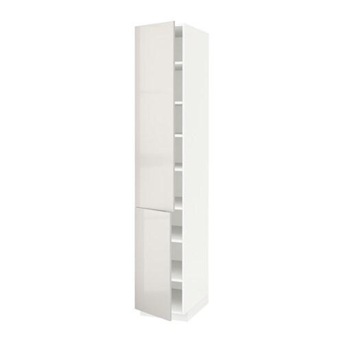 METOD Mobile alto con ripiano/2 ante - bianco, Ringhult lucido grigio ...
