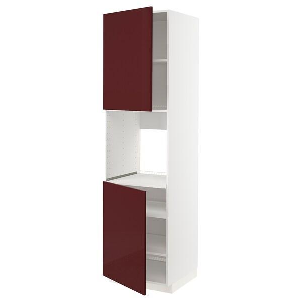 METOD Mobile alto forno, 2 ante/ripiani, bianco Kallarp/lucido color mogano, 60x60x220 cm