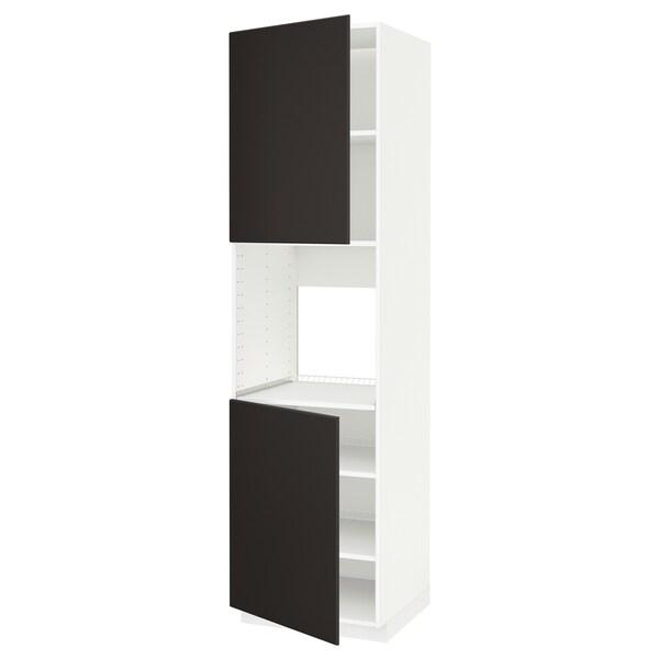 METOD Mobile alto forno, 2 ante/ripiani, bianco/Kungsbacka antracite, 60x60x220 cm