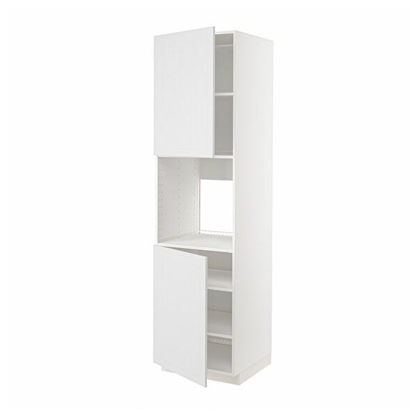 METOD Mobile alto forno, 2 ante/ripiani, bianco/Stensund bianco, 60x60x220 cm