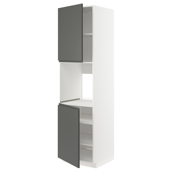 METOD Mobile alto forno, 2 ante/ripiani, bianco/Voxtorp grigio scuro, 60x60x220 cm