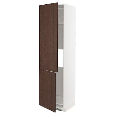 METOD Mobile alto frigo/congelatore 2ante, bianco/Sinarp marrone, 60x60x220 cm