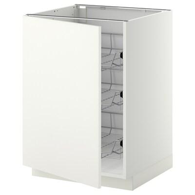 METOD Mobile base con cestelli scorrevoli, bianco/Häggeby bianco, 60x60 cm