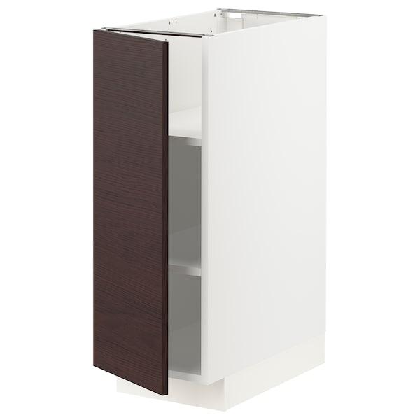 METOD Mobile base con ripiani, bianco Askersund/marrone scuro effetto frassino, 30x60 cm